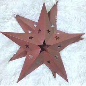 "Red Metal Barn Stars Set of 2 15""x15"" Star Decor"